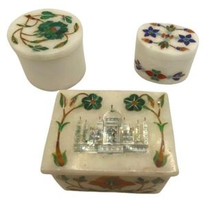 Vintage India tan mahal trinket box souvenir set